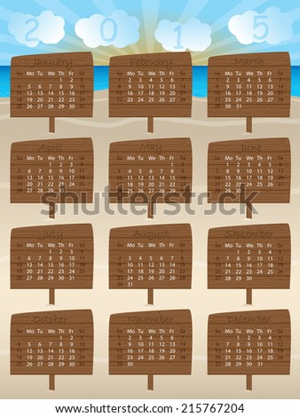 2015 calendar design with wooden signs and cloud numbers - stock vector