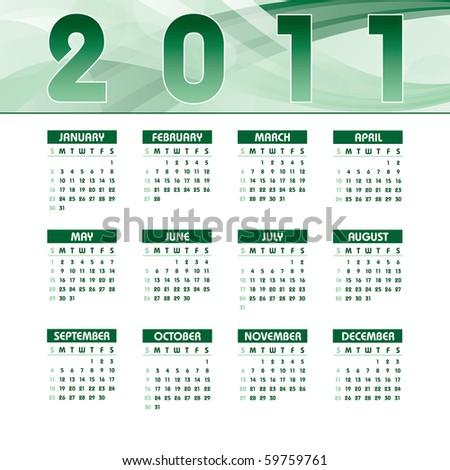 2011 Calendar. eps10. - stock vector