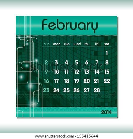 2014 Calendar. February. - stock vector