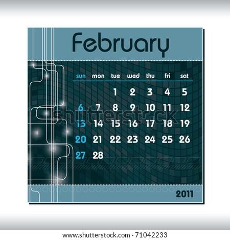 2011 Calendar. February. - stock vector
