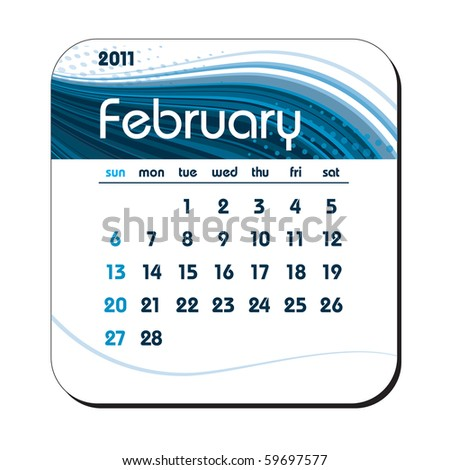 2011 Calendar. February. eps10. - stock vector