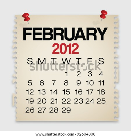 2012 Calendar February Old Torn Paper Vector - stock vector