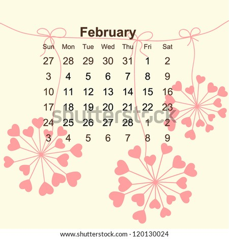 2013 Calendar February with cute hearts flowers for valentines day