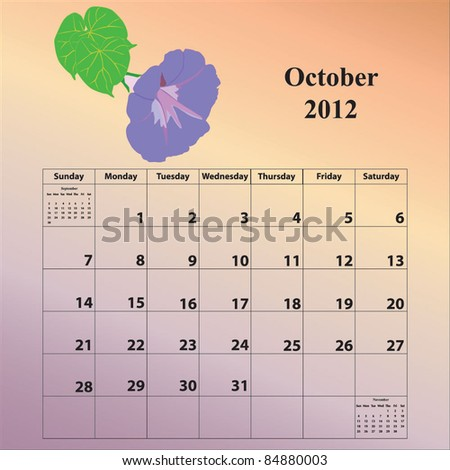 2012 Calendar for the month of October - stock vector