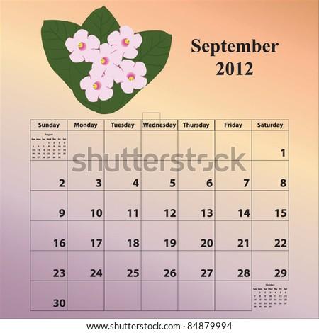 2012 Calendar for the month of September - stock vector