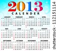 2013 Calendar full year. 12 months. Vector illustration - stock vector