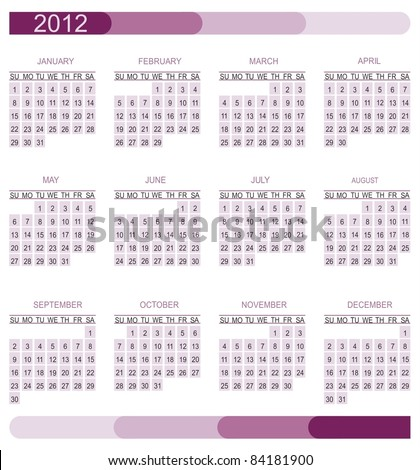2012 calendar grid - stock vector