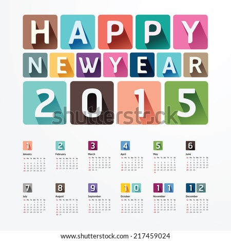 2015 Calendar / 2015  Happy new year. Calendar  design. creative paper fonts style - stock vector