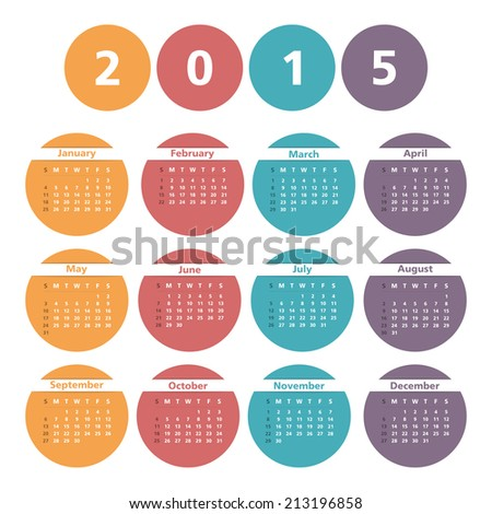 2015 Calendar in circles, vector eps10 illustration - stock vector
