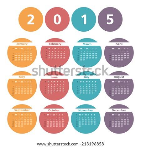 2015 Calendar in circles, vector eps10 illustration - stock vector