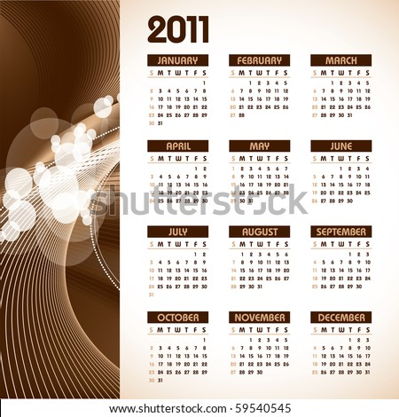 2011 Calendar in eps10 format. - stock vector
