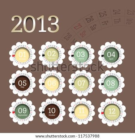 2013 calendar in flower form. Vector illustration in scrapbooking style - stock vector
