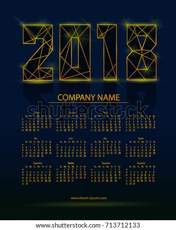 2018 calendar futuristic style vector illustration stock vector 2018 calendar in futuristic style vector illustration with gold elements can be used for design reheart Image collections