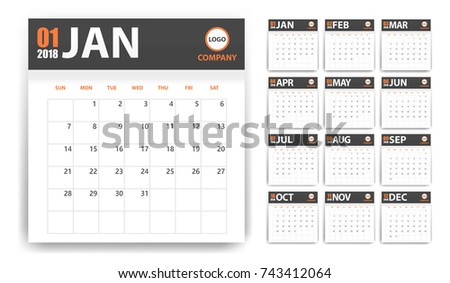 2018 calendar in paper stickers with shadow style. Blue and orange. Event planner. All size. Vector illustration