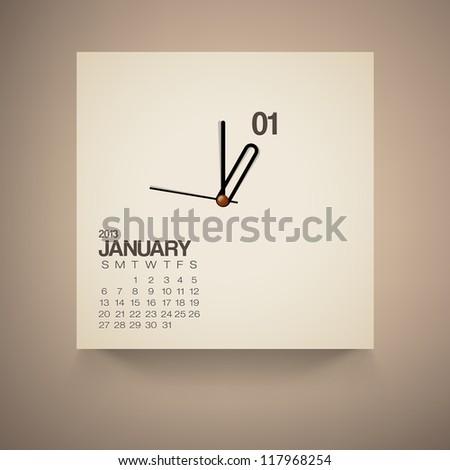 2013 Calendar January Clock Design Vector - stock vector