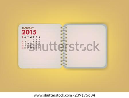 2015 Calendar January Notebook Design Vector - stock vector