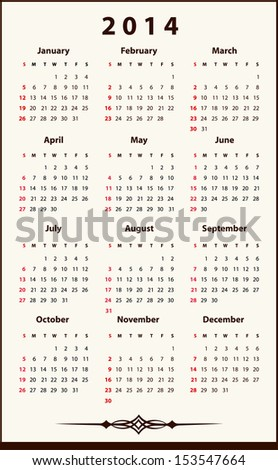 2014 Calendar, jpg file of this image is also available - stock vector