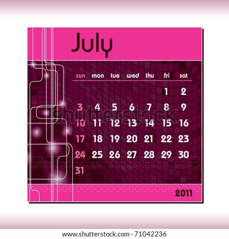 2011 Calendar. July. - stock vector