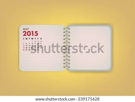 2015 Calendar July Notebook Design Vector - stock vector