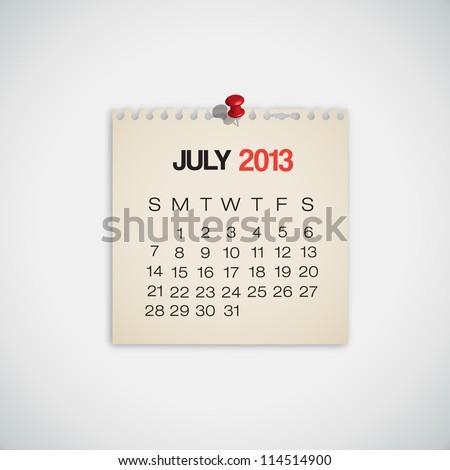 2013 Calendar July Old Torn Paper Vector - stock vector