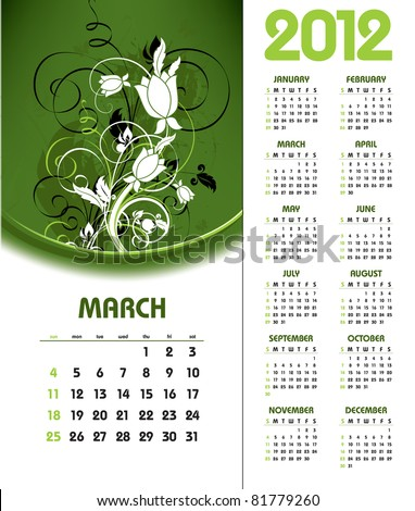 2012 Calendar. March. - stock vector