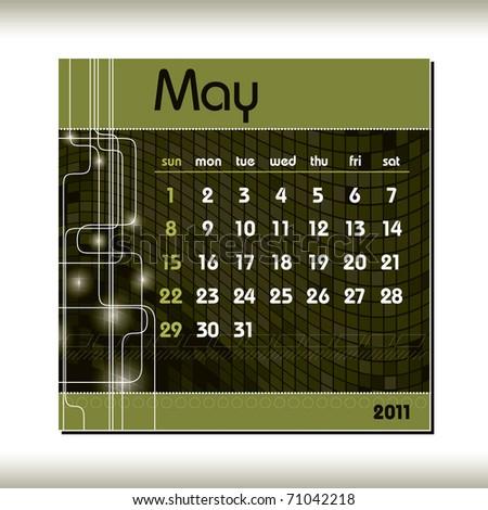 2011 Calendar. May. - stock vector
