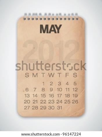 2012 Calendar May Grunge Texture Notebook Vector - stock vector