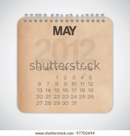 2012 Calendar May Old Texture Paper Vector - stock vector