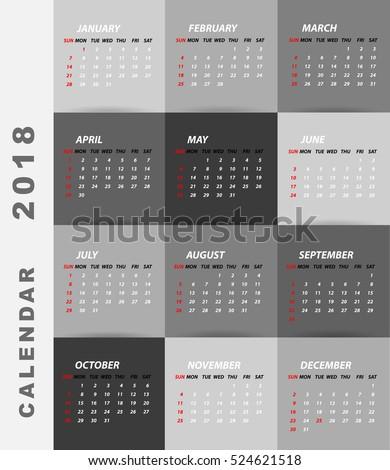 2018 calendar minimalist design