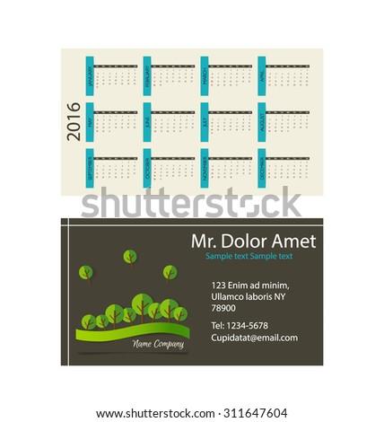 Calendar Modern Business Card Template Stock Vector - Business card calendar template
