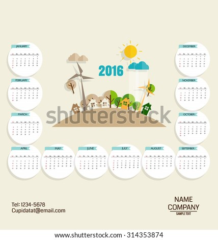 2016 calendar, Modern business card template with nature background. Vector illustration. - stock vector