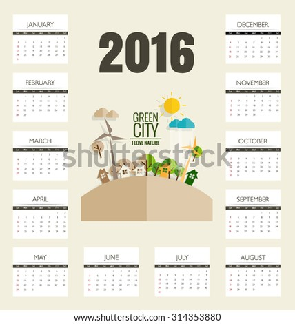 2016 calendar, Modern business card template with nature background. Vector illustration.