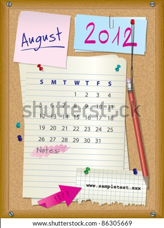 2012 calendar - month August - cork board with notes --> 2013 CALENDAR ALSO AVAILABLE IN MY PORTFOLIO