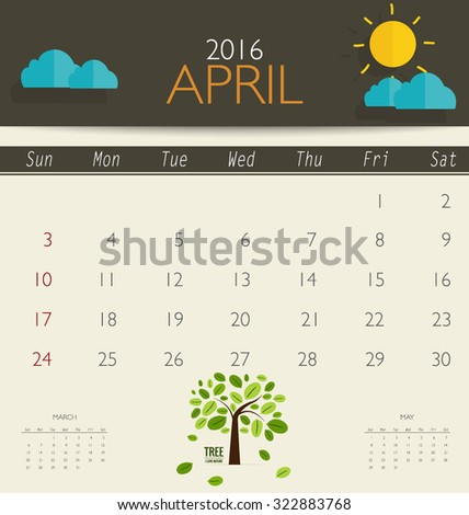 2016 calendar, monthly calendar template for April. Vector illustration. - stock vector