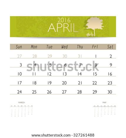 2016 calendar, monthly calendar template for April. Vector illustration. - stock vector