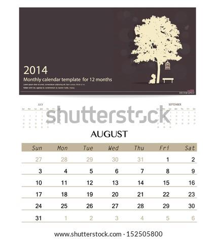 2014 calendar, monthly calendar template for August. Vector illustration. - stock vector
