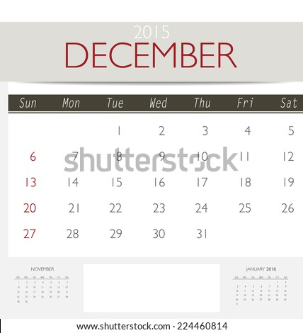 2015 Calendar Monthly Calendar Template October Stock Vector