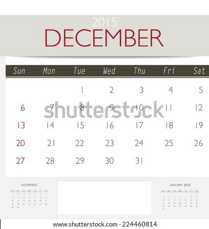 2015 calendar, monthly calendar template for December. Vector illustration. - stock vector