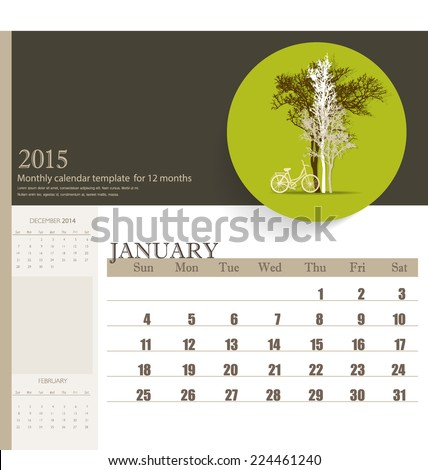 2015 calendar, monthly calendar template for January. Vector illustration. - stock vector