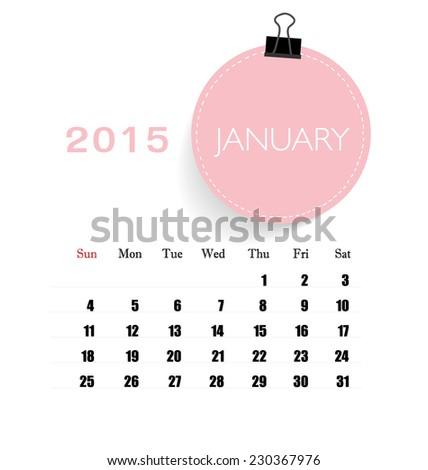 2015 Calendar Monthly Calendar Template January Stock Vector