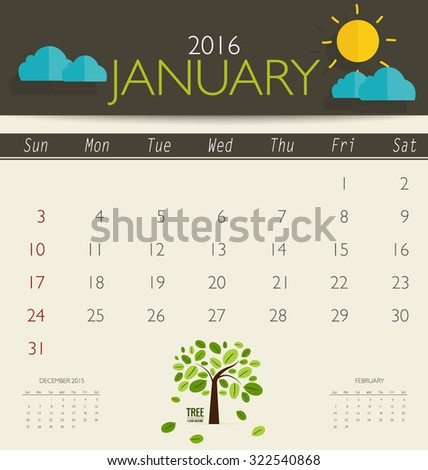 2016 calendar, monthly calendar template for January. Vector illustration. - stock vector