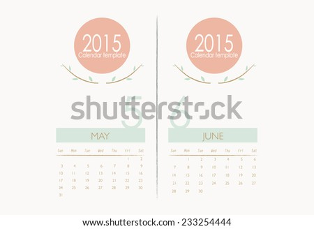 2015 calendar, monthly calendar template for May and June. Vector illustration. - stock vector