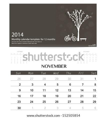 2014 calendar, monthly calendar template for November. Vector illustration. - stock vector