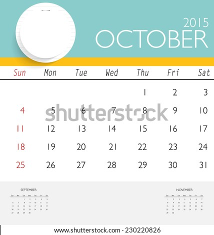 2015 Calendar Monthly Calendar Template October Stock Vector Hd
