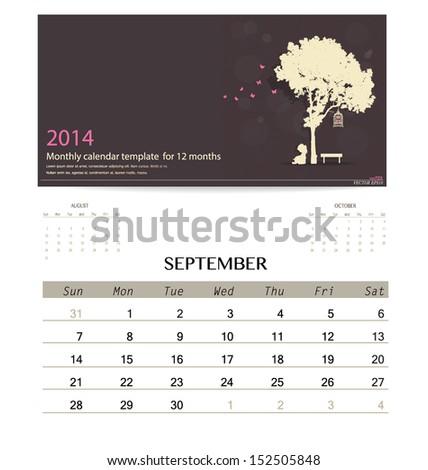 2014 calendar, monthly calendar template for September. Vector illustration. - stock vector