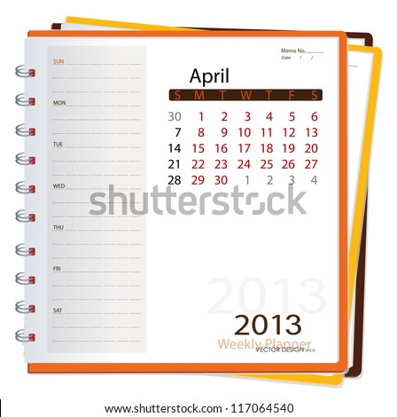 2013 calendar notebook, April. Vector illustration.