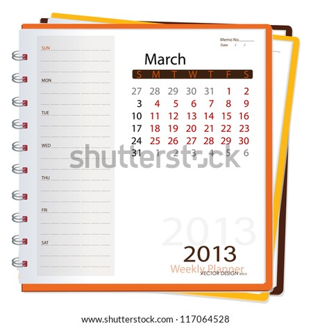 2013 calendar notebook, March. Vector illustration. - stock vector
