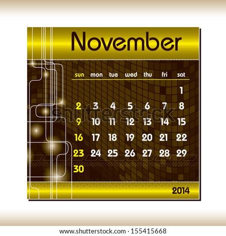 2014 Calendar. November. - stock vector