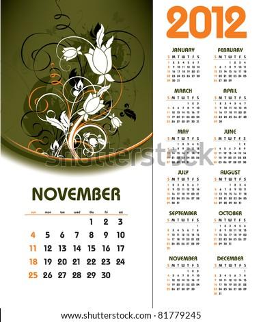 2012 Calendar. November. - stock vector