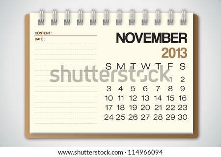 2013 Calendar November Old Torn Paper Vector - stock vector